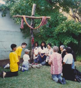 The Cross in the backyard of Mary MacKillop Institute of East Timorese Studies in 1997.